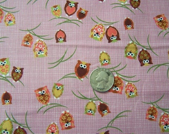 Japanese Fabric - Kawaii Winking Owls in PINK, 1/2 yard
