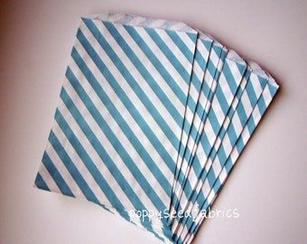 "BLUE Stripe Big Bitty Bags Party Favors Paper Pattern 6.25"" x 9.25"" Pack of 20"