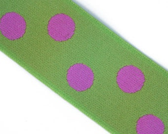 Lime and pink Polka Dot 1.5 Inch Elastic banding- Reversible, goes great with any ruffle fabric color 1 yd total