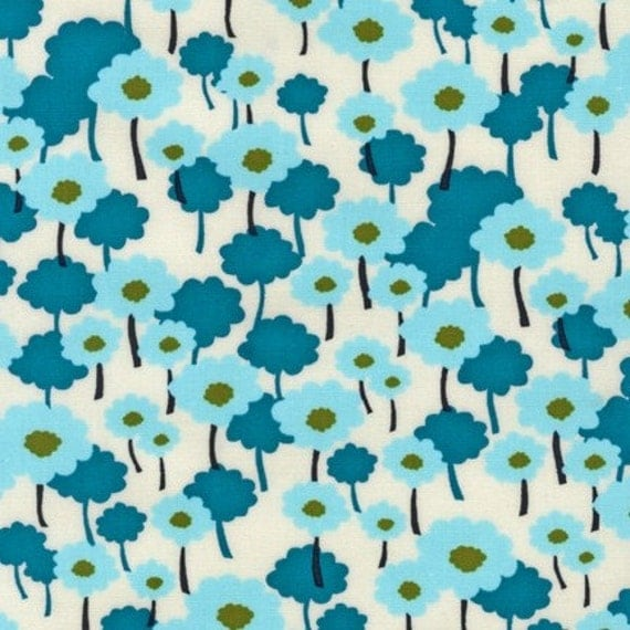 SALE.....20% OFF  Poppies in Aqua, Nancy Mims, Pick A Bunch Organic, Robert Kaufman last 1/2 Yard