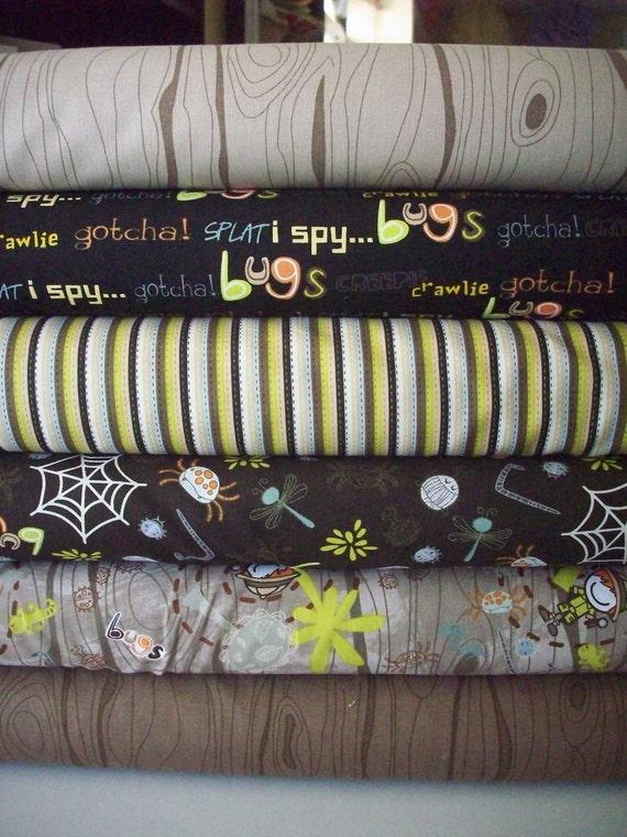 Smirk Bug boy bundle, Timeless Treasures -fat quarter bundle 6 total