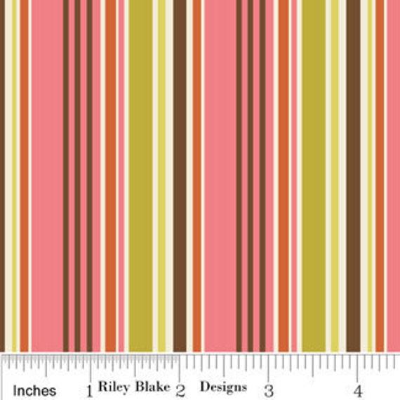 YARD SALE....  Zoe Pearn and Riley Blake, Indian Summers, Stripe Pink, 1 Yard