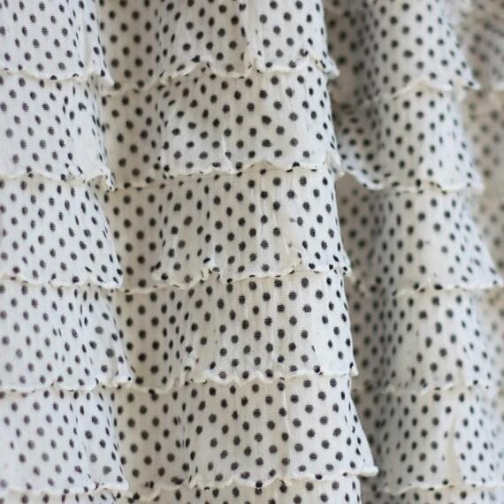 Tuxedo Pin Dot Cascading Ruffle Fabric, 1 yd total