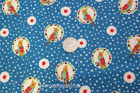 SALE....  Echino Fabric Fall 2011 - Cockatiel in Blue by Etsuko Furuya - 25 inches left