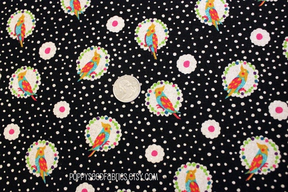 SALE.... 15% OFF Echino Fabric Fall 2011 - Cockatiel in Black by Etsuko Furuya - Half Yard