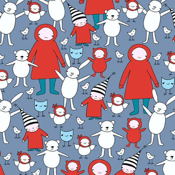 End of the bolt, Meet The Gang - The Gang's All Here in Dusk by Creative Thursday and Andover Fabrics, 33 inches remain