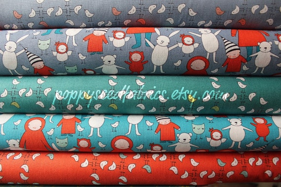 last one SALE......10% OFF Meet The Gang -by Creative Thursday and Andover Fabrics, Fat quarter bundle-5 total