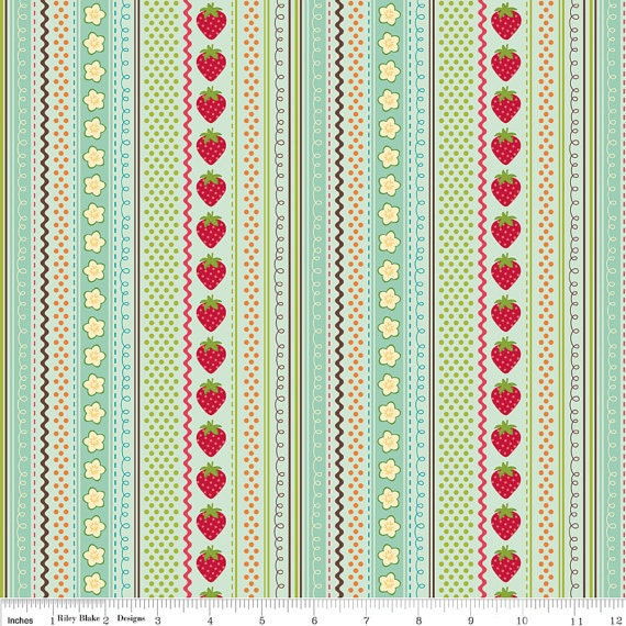 SALE Strawberry Stripe teal, from Fly a Kite by October Afternoon and Riley Blake, 1/2 yard