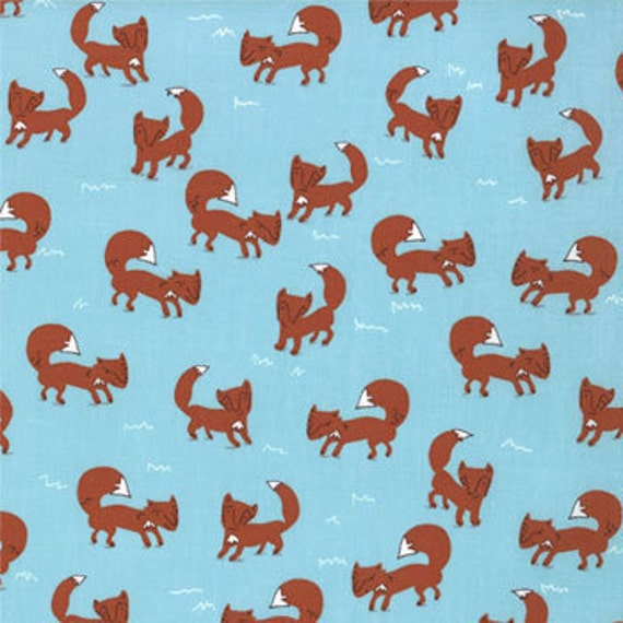 SUPER SALE....last one, Walk in the Woods from Aneela Hoey for Moda, Foxes in blue bell, 1/2 yard