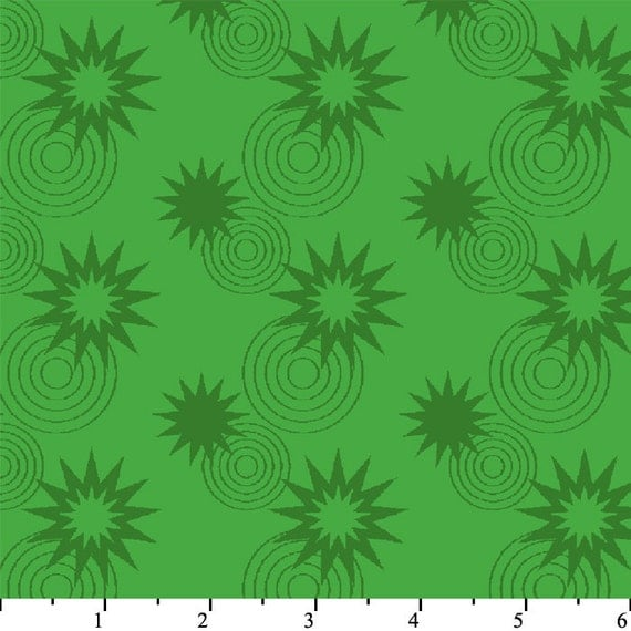SALE...Green Lantern Licensed by David Textiles - Stars and circles green, 1 yd total
