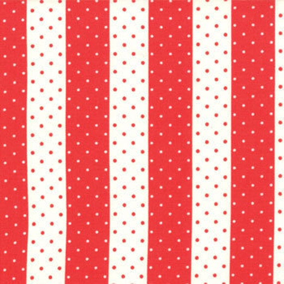 SUPER SALE.... Vintage Modern by Bonnie and Camille for Moda, Floral Dot Stripe Candy apple 1 yard