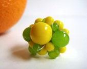 Citrus Cluster Ring, Lemon Lime Glass