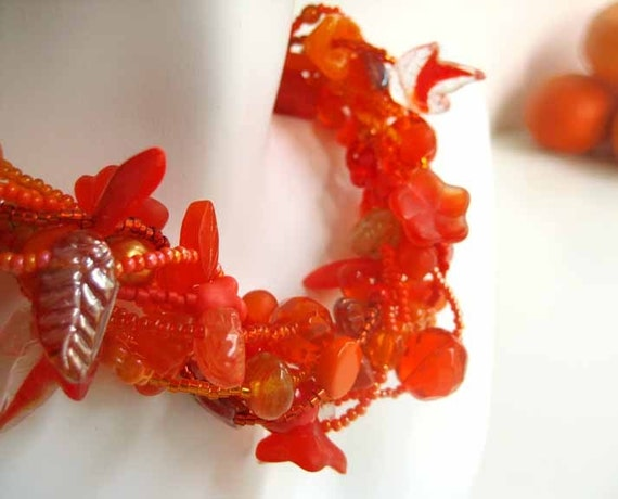 Persimmon Chunky Beaded Necklace, Orange Leaf and Vine