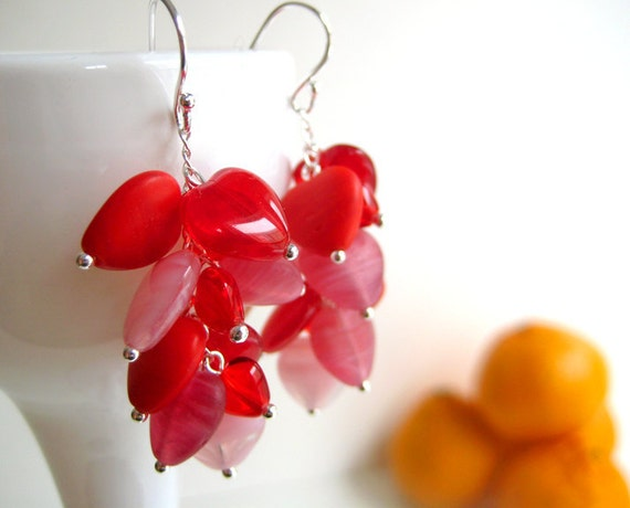 Sweetheart Cluster Earrings, Red and Pink Glass, Rose Heart