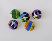CRAYON Fabric Covered Buttons, handmade by JEJEWELED