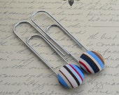SCOTTIE (blue, brown, tan and white) Bookmark/Paperclip from fabric covered buttons, handmade by JEJEWELED