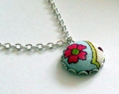 Floral Fabric Covered Button Necklace, handmade by JEJEWELED