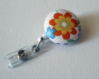 Retractable ID Badge Holder - Flower Badge Reel - Nursing Badge Holder - Cute ID Badge Reel - Nurse Badge Holder - Orange Floral