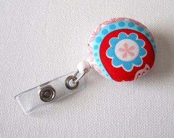 Blue and Red Flower - ID Badge Reel - Name Badge Holder - Flower Badge Reel - Fabric Button Badge Holder