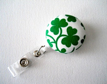 Retractable ID Badge Holder - ID Badge Reel  - Name Badge Holder - Nurses Badge Holder - Holiday Badge Reel - St. Patrick's Day Shamrocks