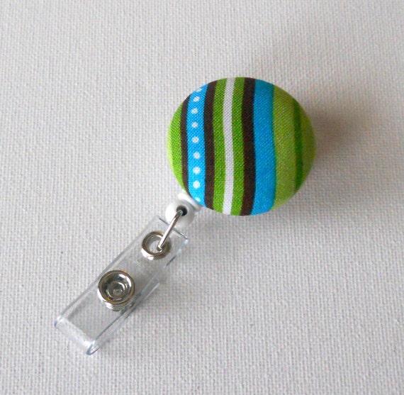 Blue and Green Striped - Name badge Holder - Retractable ID Badge Reel - Cute ID Badge Reel - Teacher Gift - RN Badge