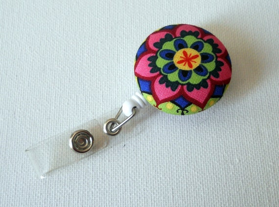 Colorful Flower -  ID Badge Reel - Flower Badge Holder - Nurse Gift - Teacher ID Badge