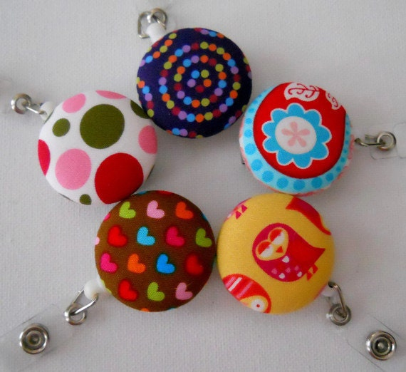 Wholesale ID Badge Reels from Fabric Covered Buttons (Retractable) 5 Reels for every day of the week