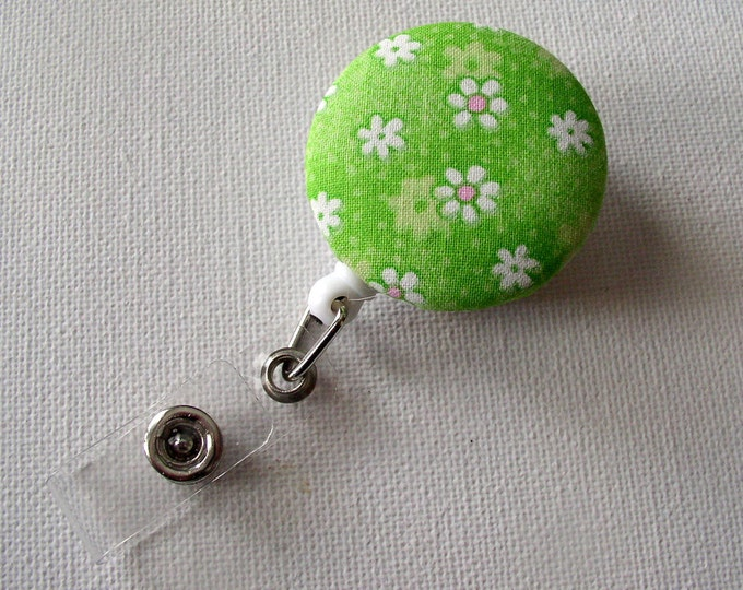 Cute ID Badge Reel - Name Badge Holder - Flower Badge Clip - Unique ID Badge - Fabric Button Badge Reel - Pediatric RN Badge Clip