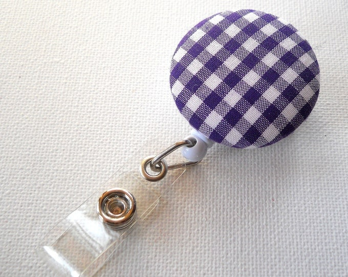 Purple Gingham - Retractable ID Badge Reel - Handmade Badge Reel - Cute ID Badge Holder - Nurse Badge Clip - Teacher Gift