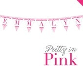 Pretty In Pink Party - Personalized DIY printable pennant banner