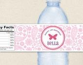Butterfly Party - 100% waterproof personalized water bottle labels