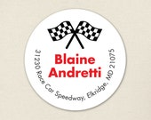 Checkered Flag Address Labels (Race Car Party) - Sheet of 24