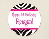 Zebra Party in Your Choice of Color - Custom stickers - Sheet of 12 or 24