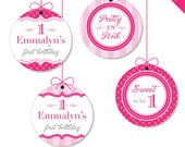 "Pretty in Pink Party - Personalized DIY printable 2"" party circles"