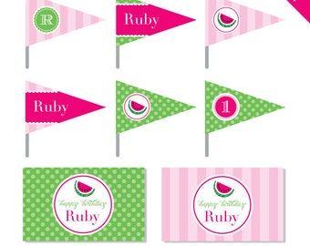 Watermelon Party - Personalized DIY printable straw flags and napkin rings