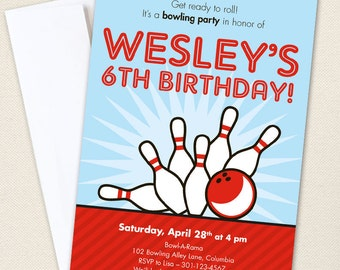 Bowling Party Invitations - Professionally printed *or* DIY printable