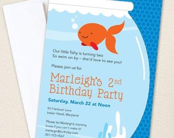 Goldfish Party Invitations - Professionally printed *or* DIY printable