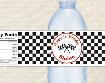 Race Car Party Water Labels - Checkered Flags - 100% waterproof personalized water bottle labels