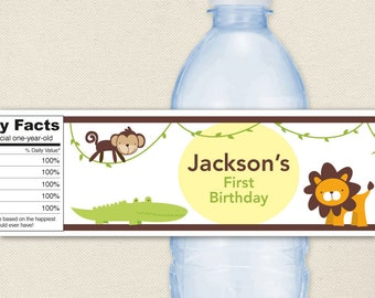 Jungle Safari Party - 100% waterproof personalized water bottle labels