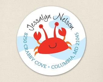 Crab Address Labels / Under the Sea Address Labels - Sheet of 24