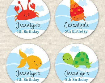 Under the Sea Party - Custom Stickers - Sheet of 12 or 24