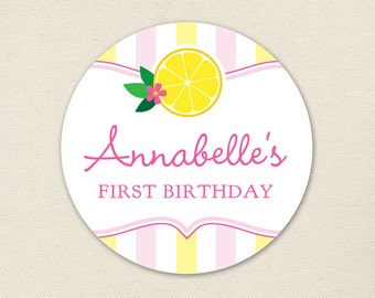 Pink Lemonade Party - Custom stickers - Sheet of 12 or 24