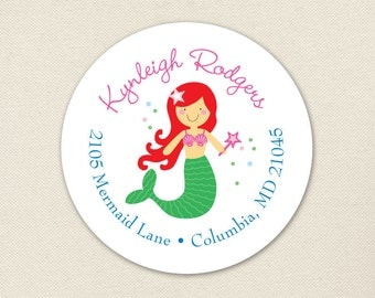 Mermaid Address Labels - Choose your own mermaid - Sheet of 24