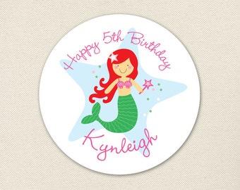 Mermaid Party - Custom Stickers - Choose your own mermaid - Sheet of 12 or 24