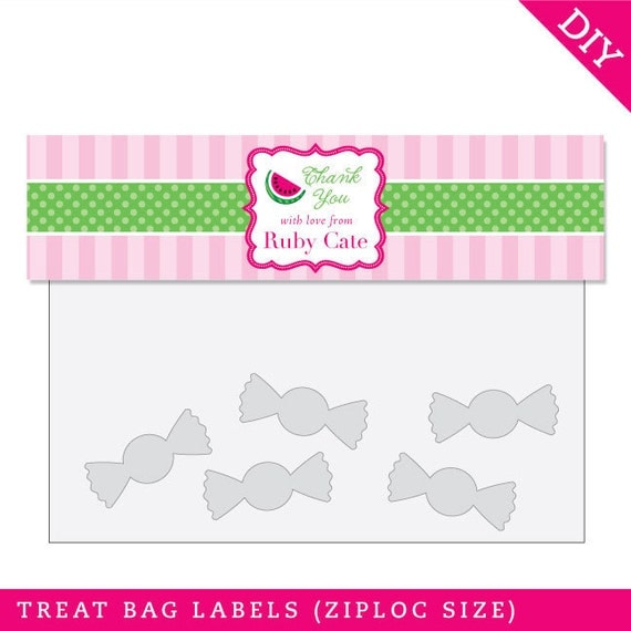 Watermelon Party - Personalized DIY printable treat bag label