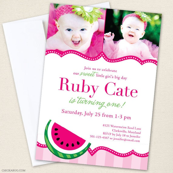 Watermelon Party Photo Invitations - Professionally printed *or* DIY printable