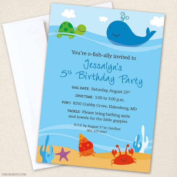 like this item - Under The Sea Party Invitations