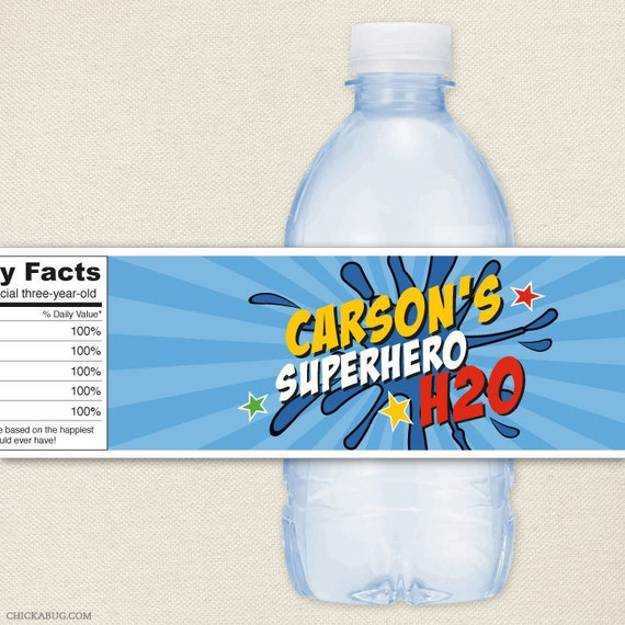Superhero Party - 100% waterproof personalized water bottle labels