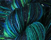 MAGPIE - SW Merino/Silk/Nylon/Silver Sock Yarn, Hand Painted in Lagoon Greens