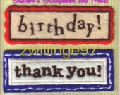 K & Company Beyond Postmarks BIRTHDAY 3 Embroidered Fabric Tags Stickers Embellishments for Scrapbooking Card Making Arts Crafts